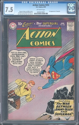 Picture of ACTION COMICS (1938) #253 CGC 7.5 VF- 2ND SUPERGIRL