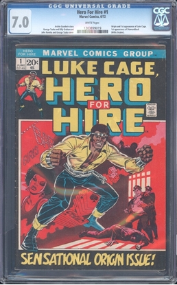 Picture of HERO FOR HIRE (1972) #1 CGC 7 FN/VF WP (5719)