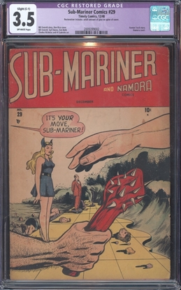 Picture of SUB-MARINER COMICS (1941) #29 CGC 3.5 VG- OW C-1 RESTORED